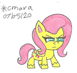 Size: 733x695 | Tagged: safe, artist:cmara, fluttershy, pegasus, pony, my little pony: pony life, annoyed, female, fluttershy is not amused, mare, simple background, solo, traditional art, unamused, white background