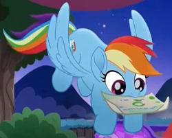 Size: 711x572 | Tagged: safe, edit, screencap, rainbow dash, rainbow roadtrip, cropped, cute, dashabetes, flying, mouth hold