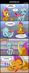 Size: 800x2020 | Tagged: safe, artist:uotapo, ocellus, smolder, changedling, changeling, dragon, 4koma, :p, blushing, butt, comic, confused, covering eyes, cute, diaocelles, embarrassed, mlem, ocellass, onomatopoeia, plot, silly, silly dragon, sleeping, smolderbetes, sound effects, tongue out, translation, wings, zzz