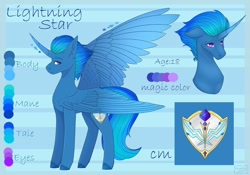 Size: 1080x758   Tagged: safe, artist:chrystal_company, oc, oc only, oc:lightning star, alicorn, pony, abstract background, alicorn oc, bust, colored hooves, curved horn, duo, horn, reference sheet, wings
