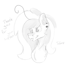 Size: 616x579 | Tagged: safe, oc, oc:shine, pony, blepping, bust, ear piercing, earring, hair, jewelry, mlem, patreon, patreon reward, photo, piercing, portrait, silly, simple background, sketch, solo, thank you, tongue out, white background