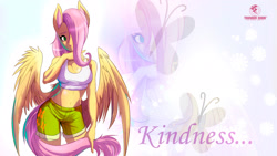 Size: 1920x1080 | Tagged: safe, artist:thundereddie, fluttershy, anthro, pegasus, pony, breasts, busty fluttershy, clothes, cutie mark background, hair over one eye, kindness, redraw, shorts, shy, solo, wings