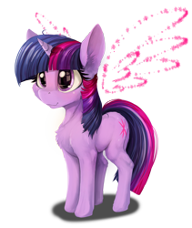 Size: 2668x3160   Tagged: safe, artist:alcor, twilight sparkle, pony, unicorn, artificial wings, augmented, chest fluff, cute, female, happy, high res, magic, magic wings, mare, simple background, solo, sparkles, transparent background, twiabetes, unicorn twilight, wings