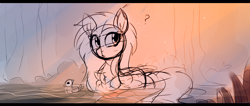 Size: 1228x519 | Tagged: safe, artist:aureai-sketches, fluttershy, bird, duck, pegasus, pony, :<, behaving like a bird, behaving like a duck, chest fluff, crepuscular rays, ear fluff, female, folded wings, forest, mare, messy mane, rough sketch, sketch, solo, swamp, swimming, wing fluff, wings, wip