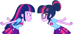 Size: 3074x1431   Tagged: safe, artist:syringe-rifle-hornet, sci-twi, twilight sparkle, equestria girls, duality, frown, glare, looking at each other, self paradox, twolight