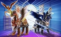 Size: 1024x622 | Tagged: safe, artist:amalgamzaku, philomena, princess celestia, princess luna, tiberius, alicorn, opossum, phoenix, pony, armor, badass, banner, commission, duo, fanfic art, female, glowing horn, horn, magic, mare, mask, mirror, naginata, royal sisters, samurai, signature, speedpaint available, telekinesis