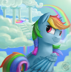 Size: 1226x1248 | Tagged: safe, artist:nebula210, rainbow dash, pegasus, pony, cloud, cloudsdale, female, looking back, mare, on a cloud, rainbow, sky, smiling, solo