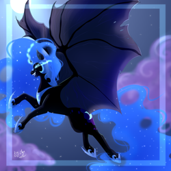 Size: 3000x3000 | Tagged: safe, artist:marshmallotheredfox, nightmare moon, alicorn, bat pony, bat pony alicorn, bat wings, cloud, ethereal mane, ethereal tail, evil grin, fangs, frame, full moon, glowing eyes, glowing horn, grin, horn, large wings, moon, night, signature, sky, smiling, solo, speedpaint available, spread wings, stars, wings