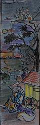 Size: 321x997 | Tagged: safe, artist:agm, trixie, pony, unicorn, campfire, canterlot, canterlot castle, cape, clothes, fire, moonrise, mountain, river, solo, sunset, trixie's cape, trixie's wagon, wagon, waterfall
