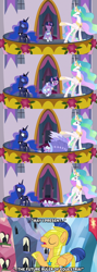 Size: 1280x3600 | Tagged: safe, flash sentry, princess celestia, princess luna, twilight sparkle, alicorn, pegasus, pony, the last problem, armor, caption, clothes, coronation, coronation dress, deadpan snarker, dress, how embarrassing, jewelry, majestic as fuck, regalia, royal guard, royal guard armor, second coronation dress, the future ruler of equestria, tripping, twilight sparkle (alicorn), whoops