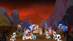 Size: 1280x718 | Tagged: safe, artist:swiftgaiathebrony, idw, cosmos (character), grogar, skeleton pony, army, army of darkness, bell, bone, burning, cosmageddon, darkness, fight, grogar's bell, it's the end of the world as we know it, ponyville, red sky, shadow, skeleton