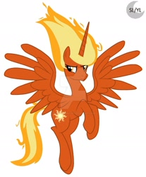 Size: 1600x1932   Tagged: safe, artist:princesslunayay, princess celestia, alicorn, pony, base used, deviantart, deviantart watermark, female, flying, logo, looking at something, mane of fire, mare, obtrusive watermark, simple background, smiling, smirk, solo, spread wings, super form, tail of fire, watermark, white background, wings