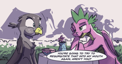 Size: 1813x951   Tagged: safe, artist:kam, gabby, spike, dragon, griffon, behaving like a bird, dialogue, female, griffons doing bird things, implied vomit, male, shipping, spabby, speech bubble, straight, winged spike, wings