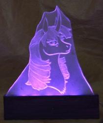 Size: 1318x1572 | Tagged: safe, artist:ashenonedreamer, artist:dementra369, twilight sparkle, unicorn, bust, craft, engraving, led, portrait, solo, unicorn twilight