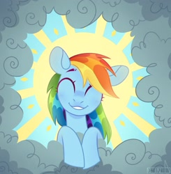 Size: 2008x2051 | Tagged: safe, artist:n in a, rainbow dash, pegasus, pony, the ticket master, cloud, cute, dashabetes, eyes closed, female, high res, mare, on a cloud, scene interpretation, smiling, solo, sun, sunlight