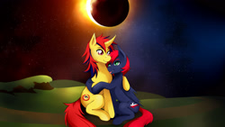 Size: 2880x1620   Tagged: safe, artist:mlp-hugfactory, pony, unicorn, commission, cute, hug