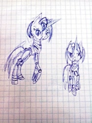 Size: 810x1080   Tagged: safe, artist:kiwwsplash, oc, oc only, pony, robot, robot pony, duo, graph paper, lineart, traditional art