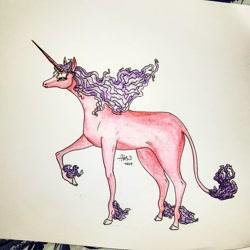 Size: 1080x1080   Tagged: safe, artist:alex_kuki8914, oc, oc only, pony, unicorn, hoof fluff, horn, leonine tail, raised hoof, signature, solo, traditional art, unicorn oc