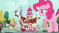 Size: 3840x2160   Tagged: safe, artist:dashiesparkle, artist:totalcrazyness101, edit, editor:jaredking203, vector edit, pinkie pie, earth pony, pony, female, giant pony, giant/macro earth pony, giantess, macro, mare, mega pinkie, raised hoof, sugarcube corner, vector