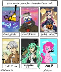 Size: 916x1080 | Tagged: safe, artist:alex_kuki8914, pinkie pie, earth pony, human, pony, six fanarts, bill cipher, bowtie, clothes, cloud, countryhumans, crossover, eyes closed, fake moustache, female, gravity falls, hair over one eye, hat, hatsune miku, headphones, heart, male, mare, pictogram, pocket mirror, pumpkin, signature, smiling, spotlight, top hat, vocaloid, waving, yuri on ice