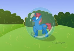 Size: 1024x714 | Tagged: safe, artist:sorasleafeon, oc, oc only, oc:train track, unicorn, blue sky, bubble, bush, happy, horn, looking up, male, open mouth, original character do not steal, smiling, solo, solo male, unicorn oc, vector
