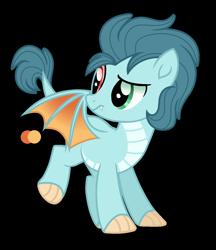 Size: 1212x1400 | Tagged: safe, artist:purplepotato04, oc, dracony, dragon, hybrid, pony, heterochromia, magical lesbian spawn, offspring, parent:applejack, parent:princess ember, simple background, solo, transparent background
