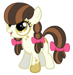 Size: 400x411 | Tagged: safe, artist:madlilon2051, oc, oc:applesauce, earth pony, pony, female, filly, offspring, parent:apple bloom, parent:pipsqueak, parents:pipbloom, simple background, solo, transparent background