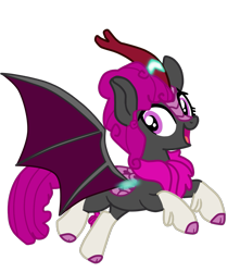 Size: 1079x1218 | Tagged: safe, artist:gmaplay, oc, oc:aifer luna, kirin, artificial wings, augmented, female, magic, magic wings, simple background, solo, transparent background, wings