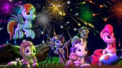 Size: 1280x720 | Tagged: safe, artist:xvclumsybusponevx, applejack, fluttershy, pinkie pie, rainbow dash, rarity, spike, twilight sparkle, alicorn, dragon, mouse, pony, rabbit, 3d, animal, fireworks, mane seven, mane six, party cannon, sleeping, telescope, twilight sparkle (alicorn), winged spike