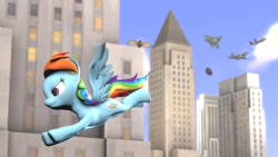 Size: 1280x720 | Tagged: safe, artist:xvclumsybusponevx, rainbow dash, pony, 3d, flying, plane, solo, source filmmaker