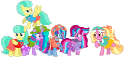 Size: 2091x980 | Tagged: safe, artist:徐詩珮, barley barrel, luster dawn, pickle barrel, oc, oc:bubble sparkle, oc:nova sparkle, oc:velvet berrytwist, alicorn, bubbleverse, series:sprglitemplight diary, series:sprglitemplight life jacket days, series:springshadowdrops diary, series:springshadowdrops life jacket days, alternate universe, barrel twins, base used, brother and sister, clothes, ella (paw patrol), everest (paw patrol), female, filly, lifeguard, magical lesbian spawn, magical threesome spawn, multiple parents, next generation, offspring, older barley barrel, older pickle barrel, parent:glitter drops, parent:spring rain, parent:tempest shadow, parent:twilight sparkle, parents:glittershadow, parents:sprglitemplight, parents:springdrops, parents:springshadow, parents:springshadowdrops, paw patrol, siblings, simple background, sisters, tracker (paw patrol), transparent background, tuck (paw patrol), twins