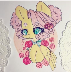 Size: 720x726 | Tagged: safe, artist:dollbunnie, fluttershy, pegasus, different hairstyle, flower, instagram, jewelry, markers, necklace, pigtails, rose, solo, traditional art