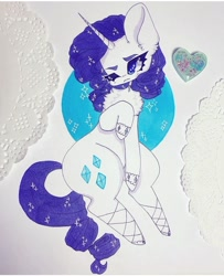 Size: 720x887 | Tagged: safe, artist:dollbunnie, rarity, pony, unicorn, accessories, bracelet, clothes, cute, eyebrows, female, instagram, jewelry, necklace, raribetes, shoes, solo