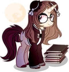Size: 1280x1334 | Tagged: safe, artist:star-gaze-pony, oc, oc:talia, pony, unicorn, book, clothes, female, glasses, mare, simple background, solo, transparent background