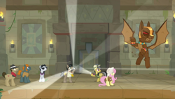Size: 1920x1080 | Tagged: safe, screencap, biff, daring do, doctor caballeron, fluttershy, rogue (character), withers, earth pony, gargoyle, guardiangoyle, pegasus, pony, daring doubt, female, henchmen, male, mare, stallion