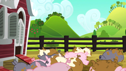 "Size: 1280x720 | Tagged: safe, screencap, pig, applejack's ""day"" off, background, no pony, scenic ponyville, sweet apple acres"