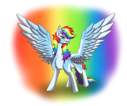 Size: 1200x1000 | Tagged: safe, artist:dragkirathedragon, rainbow dash, pegasus, pony, badass, coat markings, female, looking at you, mare, simple background, smiling, smirk, spread wings, transparent background, wings