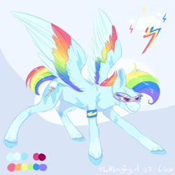 Size: 1280x1280 | Tagged: safe, artist:themessyfangirl, rainbow dash, pegasus, pony, coat markings, colored wings, female, glasses, hooves, mare, multicolored wings, rainbow wings, simple background, smiling, smirk, spread wings, wings