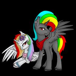 Size: 1000x1000   Tagged: safe, artist:rainbow dash is best pony, oc, oc only, oc:rainbowrio, oc:rainbowstorm, alicorn, alicorn oc, bandana, base used, bracelet, cloven hooves, ear piercing, earring, fangs, flower, horn, jewelry, piercing, simple background, spread wings, transparent background, wings