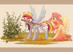 Size: 4093x2894 | Tagged: safe, artist:shore2020, fluttershy, rainbow dash, pegasus, pony, chest fluff, duo, female, floppy ears, looking at something, mare, mouth hold, nettle, outdoors, plant, sitting, spread wings, standing, stick, stinging nettle, sweat, sweatdrop, twig, wings, worried
