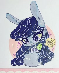 Size: 720x895 | Tagged: safe, artist:dollbunnie, octavia melody, earth pony, bowtie, collar, cute, flower, heart, long ears, rose, solo, sparkles, yellow rose
