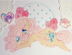 Size: 720x547 | Tagged: safe, artist:dollbunnie, fluttershy, butterfly, pegasus, flower, instagram, marker drawing, rose, traditional art, wings