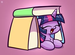 Size: 1920x1407 | Tagged: safe, artist:kimjoman, twilight sparkle, pony, book, book fort, bookhorse, chest fluff, cute, eyes closed, female, fort, mare, open mouth, prone, purple background, simple background, solo, that pony sure does love books, twiabetes