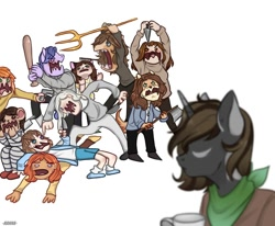 Size: 1080x890 | Tagged: safe, artist:loni_ee_, oc, oc only, anthro, human, unicorn, baseball bat, clothes, cup, fight, furry, furry oc, horn, knife, mug, neckerchief, open mouth, pitchfork, simple background, unicorn oc, white background