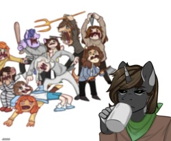 Size: 1080x890 | Tagged: safe, alternate version, artist:loni_ee_, oc, oc only, anthro, human, unicorn, baseball bat, clothes, cup, fight, furry, furry oc, horn, knife, mug, neckerchief, open mouth, pitchfork, simple background, unicorn oc, white background