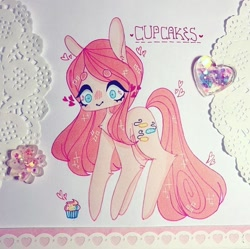 Size: 720x717   Tagged: safe, artist:dollbunnie, pinkie pie, fanfic:cupcakes, cupcake, food, marker drawing, pinkamena diane pie, solo, traditional art