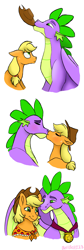 Size: 1689x5029 | Tagged: safe, artist:bellbell123, applejack, spike, dragon, earth pony, pony, the last problem, accessory theft, applejack is not amused, applespike, bust, cute, eyes closed, female, floppy ears, kissing, male, mare, medal, older, older applejack, older spike, portrait, profile, shipping, simple background, straight, unamused, white background, winged spike