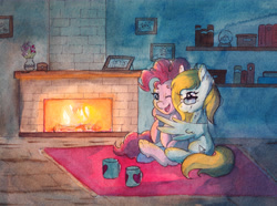 Size: 5712x4260 | Tagged: safe, artist:lightisanasshole, pinkie pie, oc, oc:cloud cuddler, earth pony, pegasus, pony, book, bookshelf, carpet, cuddling, cup, dark, duo, duo female, female, fire, fireplace, flower, glasses, looking at each other, one eye closed, pegasus oc, photos, shipping, shipping fuel, sitting, wings, wink
