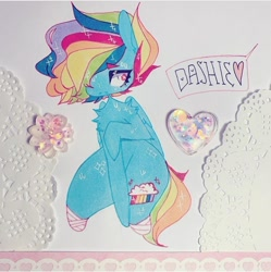 Size: 720x723 | Tagged: safe, artist:dollbunnie, rainbow dash, fanfic:cupcakes, bandage, hair over eyes, injured, scared
