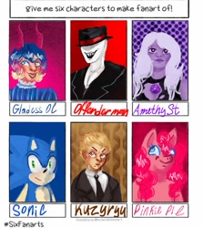 Size: 1080x1212 | Tagged: safe, artist:lemon_gam, pinkie pie, anthro, earth pony, hedgehog, human, pony, six fanarts, amethyst (steven universe), anthro with ponies, bust, clothes, crossover, danganronpa, danganronpa 2, female, fuyuhiko kuzuryuu, hat, jewelry, male, mare, necklace, offenderman, open mouth, slenderman, smiling, sonic the hedgehog, sonic the hedgehog (series), steven universe